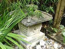 Ornate square Japanese lantern, cast using stone mixture