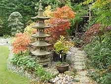 Stone pagoda, with autumnal maples